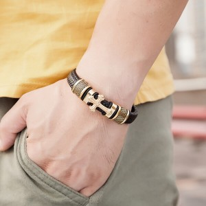Men's Cross Bracelet Lustrous Gold Finish Black Leather Rope Cord With Stainless Steel