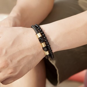 Black Obsidian Braided Leather Beads Bracelet with 316L Stainless Steel Magnetic Closure