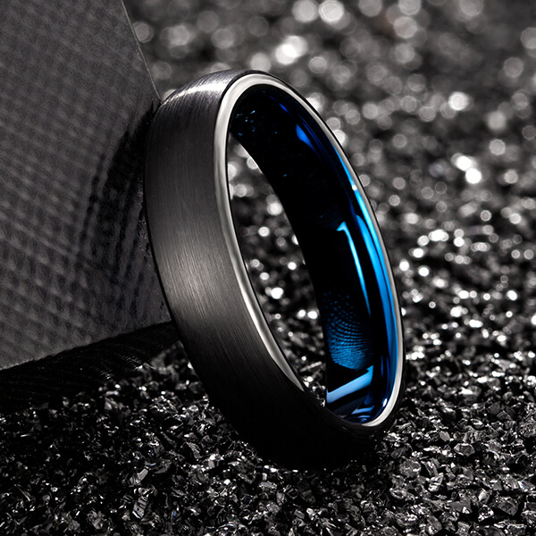 Special Design for Mens Wedding Bands - Unisex 5mm 6mm 7mm 8mm Classic Black Blue Domed Tungsten Carbide Wedding Band Ring Comfort Fit – Ouyuan