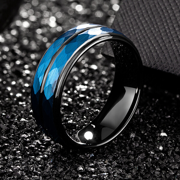 Europe style for Mens Tungsten Ring 6mm - Hammer 8mm Blue Hammered Tungsten Carbide Ring Black Two Tone Wedding Band Groove Step Edge – Ouyuan
