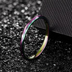 Multi-Faceted Tungsten Wedding Rings 2mm 4mm 6mm rainbow colors Bands for Men Women