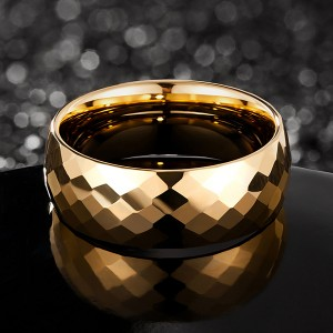 8mm Hammered gold plated men tungsten ring multi-faceted comfort fit