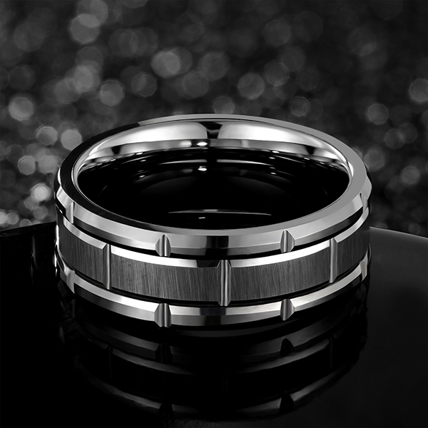 Reasonable price for Tungsten Ring Too Small - Tungsten Rings for Men Wedding Band Silver Brick Pattern Brushed Engagement Promise – Ouyuan