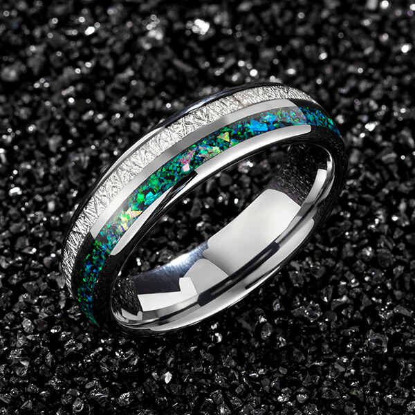 Hot Selling for Can Tungsten Carbide Rings Break - Tungsten Carbide Wedding Ring Real green Opal & silver Meteorite Inlay Wedding Band High Polished Comfort Fit – Ouyuan