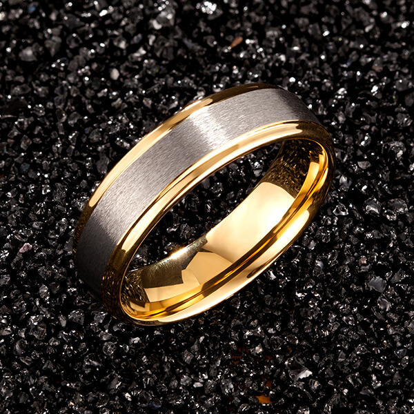 Personlized Products Black Tungsten Men Rings - Womens Mens 6mm Matte Brushed Tungsten Carbide Ring 18K Yellow Gold Wedding Band Comfort Fit – Ouyuan