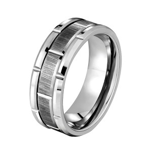 Factory best selling Opal Silver Ring - Tungsten Rings for Men Wedding Band Silver Brick Pattern Brushed Engagement Promise – Ouyuan
