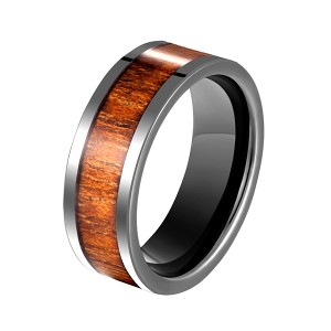 Men's Black Ceramic Flat Top Wedding Band Ring with Real Koa Wood Inlay, 9MM Comfort Fit
