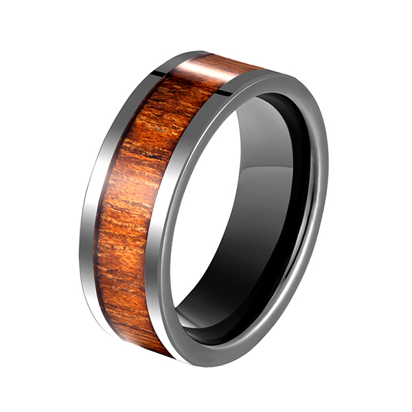 Good Quality Opal Mens Ring - Men's Black Ceramic Flat Top Wedding Band Ring with Real Koa Wood Inlay, 9MM Comfort Fit – Ouyuan