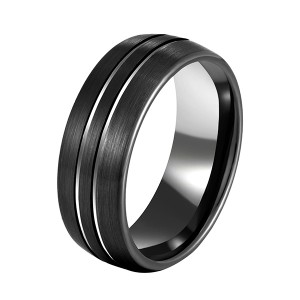 Men 8mm Black Tungsten Carbide Rings Polished Beveled Edge Double Groove Wedding Bands