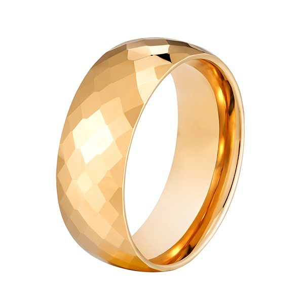 8mm Hammered gold plated men tungsten ring multi-faceted comfort fit Featured Image