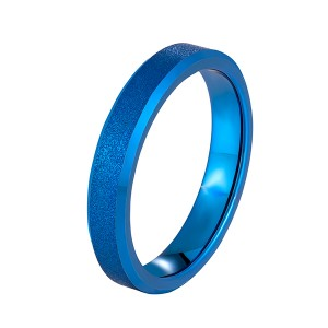 Factory Promotional Ring Opal - 4mm Spinner Ring Band for Men Women Tungsten Carbide ring blue color – Ouyuan