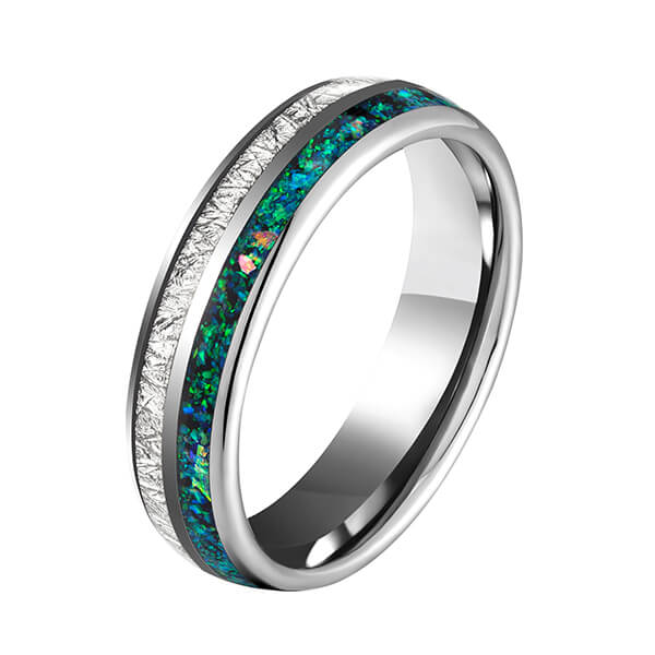 Bottom price Black And Blue Mens Ring - Tungsten Carbide Wedding Ring Real green Opal & silver Meteorite Inlay Wedding Band High Polished Comfort Fit – Ouyuan