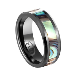 8mm Black Tungsten Wedding Band Natural Abalone Shell Inlay Tungsten Carbide Ring