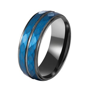 Hammer 8mm Blue Hammered Tungsten Carbide Ring Black Two Tone Wedding Band Groove Step Edge