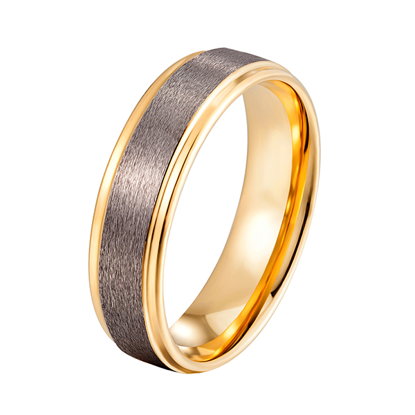 Best-Selling Tungsten Carbide Ring Hardness - Womens Mens 6mm Matte Brushed Tungsten Carbide Ring 18K Yellow Gold Wedding Band Comfort Fit – Ouyuan