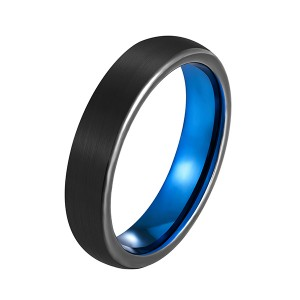 Best quality Set Of Wedding Rings - Unisex 5mm 6mm 7mm 8mm Classic Black Blue Domed Tungsten Carbide Wedding Band Ring Comfort Fit – Ouyuan