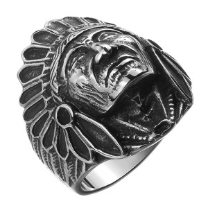 Vintage Jewelry Indian Head Stainless Steel Men's Ring