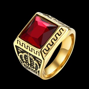 Hot Selling Wholesale Personality Crown Black Zircon Men's Ring