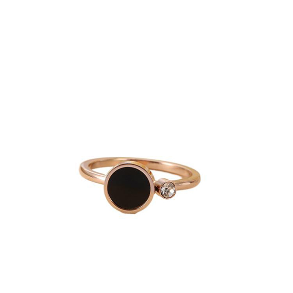 Korean Version of Black Shell Smooth Ring Couple Ring Titanium Steel Rose Gold Featured Image