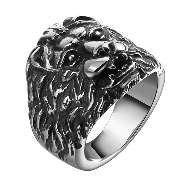 New Jewelry Punk Style Retro Personality Stainless Steel Lion Head Ring Featured Image