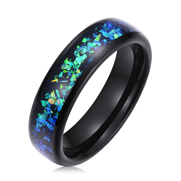 8mm Mens White Tungsten Carbide Ring Blue Goldstone Inlay Sparkling Wedding Band High Polished Featured Image