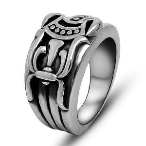 Jewelers Retro Vintage Stainless Steel Cross Band Style Biker Ring