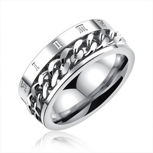 Stainless Steel Silver Cuban Chain Rotating Ring Titanium Steel Roman Numeral Chainring