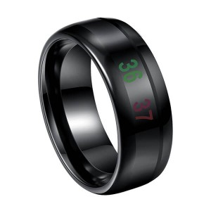 Men's 8mm Black Temperature Measurement Tungsten Carbide Ring Personality Band Polished Comfort Fit