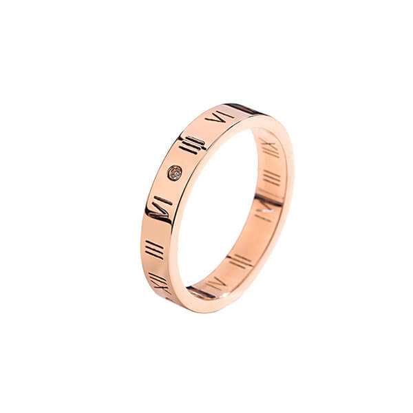 Fashion Jewelry Rose Gold Plated Titanium Dainty initial CZ Roman Numeral Ring For Women Girls Featured Image