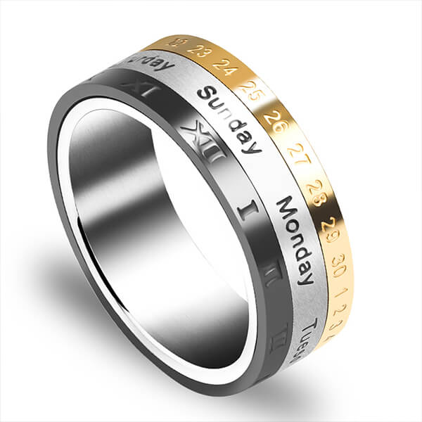 Roman Three Tone Arabic Number Spinner Rings Titanium Steel Engraved Rotatable Jewelry for Men Featured Image