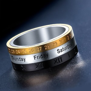 Roman Three Tone Arabic Number Spinner Rings Titanium Steel Engraved Rotatable Jewelry for Men