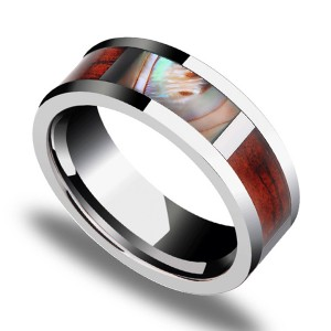 Wood with Abalone Shell Inlay 8mm Comfort Fit Ring Wedding Band