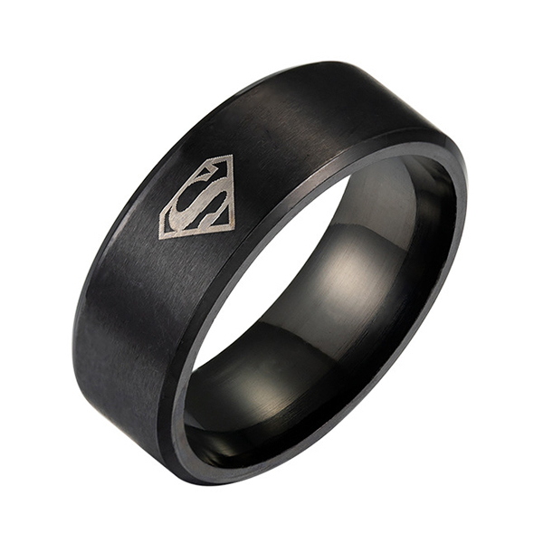 Superman Ring Tungsten 4 Colors Mens Unisex Superhero Cool Guy Rings Featured Image