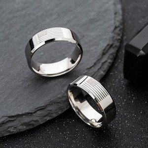 American Flag Rings for Women and Men Black Engraved Basic 8mm Stainless Steel Ring for Anniversary