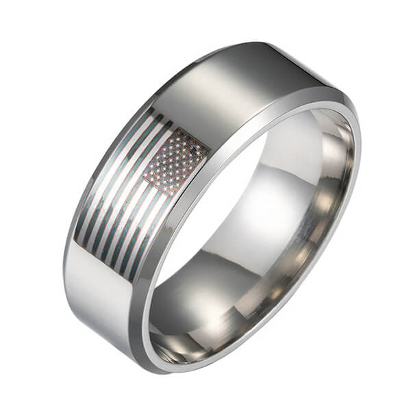 American Flag Rings for Women and Men Black Engraved Basic 8mm Stainless Steel Ring for Anniversary Featured Image