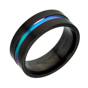 6mm 8mm Rainbow Titanium Ring Colorful Thin Groove Wedding Band Couple Rings Size