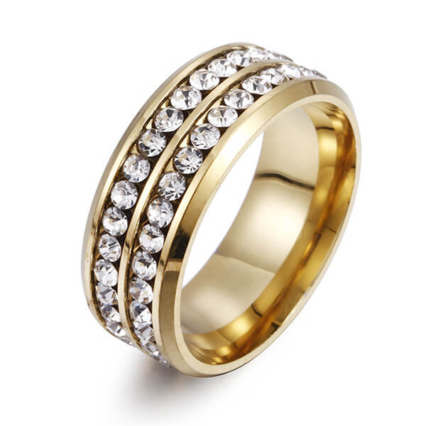 8MM Stainless Steel High Polished 18K Gold Cubic Zirconia CZ Promise Engagement Band Featured Image