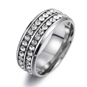 8MM Stainless Steel High Polished 18K Gold Cubic Zirconia CZ Promise Engagement Band