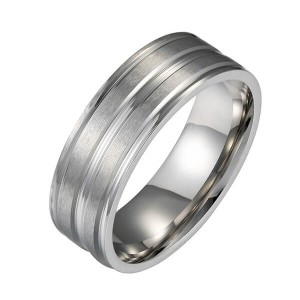 Men's Tungsten Ring Wedding Band High Polished Center and Matte Finish