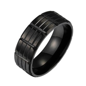 Classic Men 8mm Black Tungsten Carbide Rings Polished Beveled Edge Groove Wedding Bands