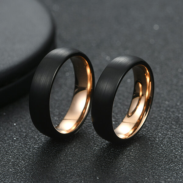 Best quality Set Of Wedding Rings - 6mm Unisex Enamel Brushed Matte Surface Black And Rose Gold Plated – Ouyuan