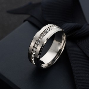 6mm Titanium Steel Carbide Ring with Brilliant CZ Diamonds Mens Single Band