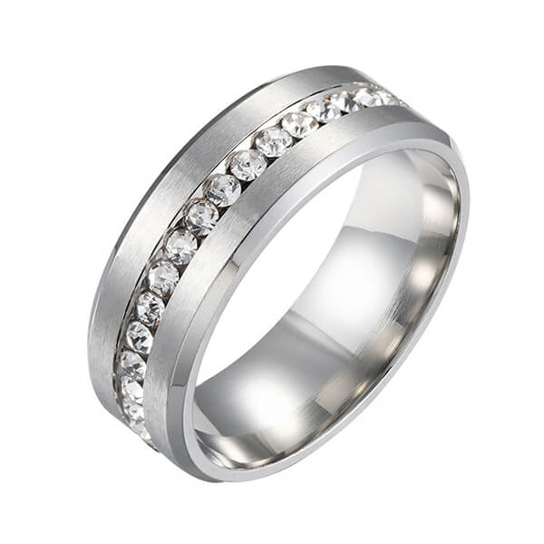 6mm Titanium Steel Carbide Ring with Brilliant CZ Diamonds Mens Single Band Featured Image