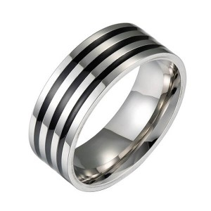 Wholesale Custom Black Rings and Silver for Men Stainless Steel