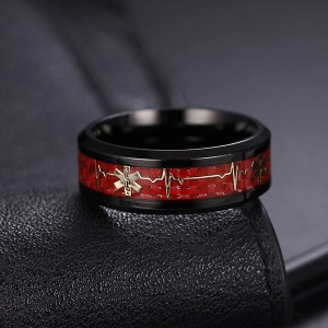 Men's 8mm Black with Red Tungsten Carbide Ring  Comfort Fit Single Band Size