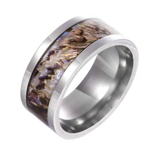 Ladies and Men Rings with Tungsten Carbide and Abalone Shell Gold Plated Comfort Fit Size
