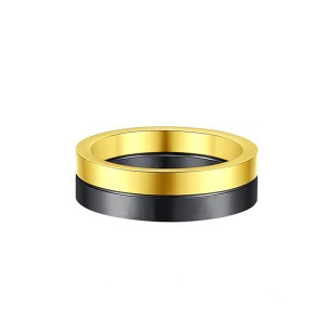 Titanium Rings for Mens Wedding Bands Gold And Black Hybrid Ring