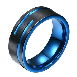 Tungsten Carbide Single Band Customize Blue Line Ring Black and Black Brushed Comfort Fit