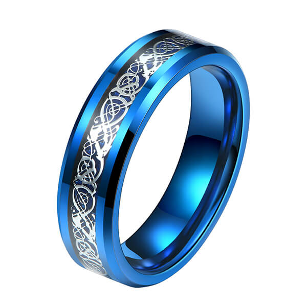 China OEM Worth Of Tungsten Carbide Rings - Unique Silver Celtic Dragons With Blue Background Tungsten Steel Inlay Rings – Ouyuan