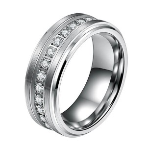 Mens Tungsten Wedding Bands with Cubic Zirconia Eternity Ring CZ Inlaid High Polish